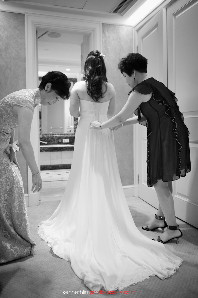 Hong Kong The Peninsula wedding bride wearing gown backside