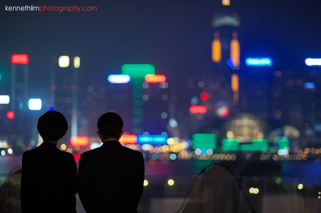 Hong Kong The Peninsula wedding father of bride talking skyline
