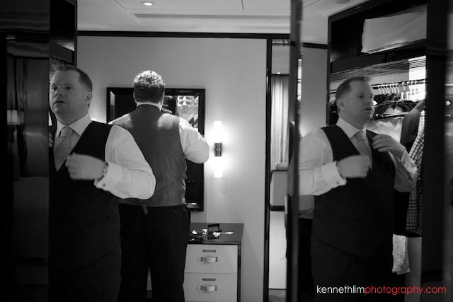 Hong Kong The Peninsula wedding groom best man getting ready