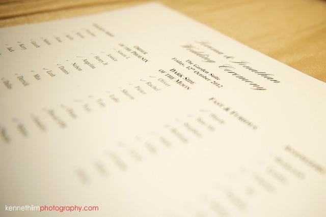 Hong Kong The Peninsula wedding guest list table plan