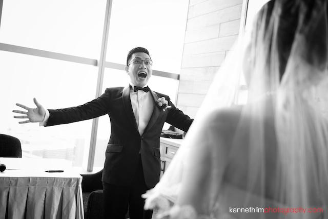 Hong Kong Wooloomooloo Prime wedding groom reaction to seeing bride