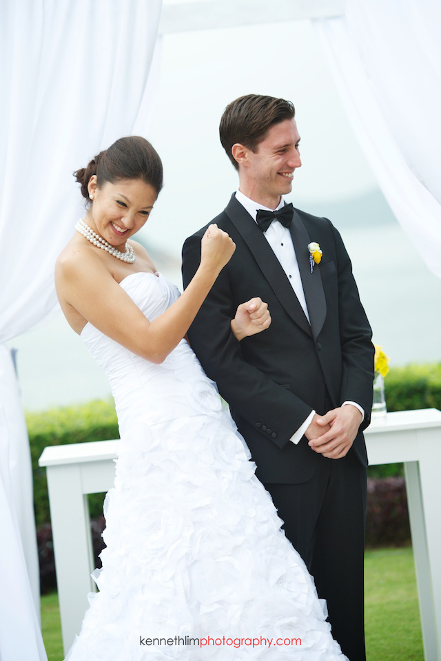 Hong Kong Country Club wedding bride fistpump smiling