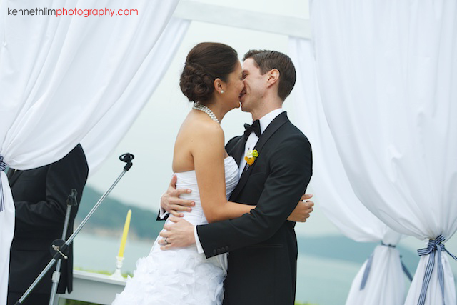 Hong Kong Country Club wedding bride groom first kiss at altar