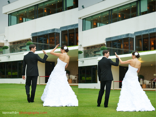 Hong Kong Country Club wedding bride groom march off high fiving