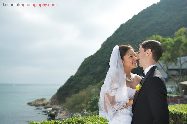 Hong Kong Country Club wedding bride groom portrait session kissing