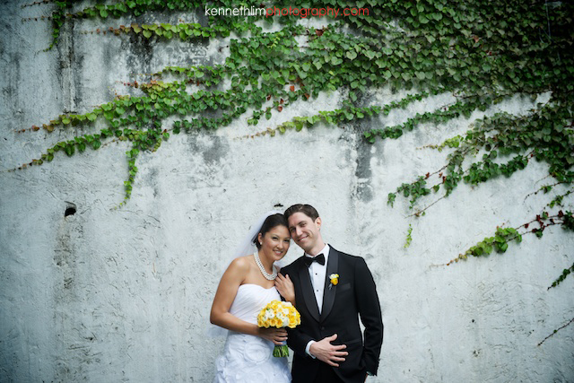 Hong Kong Country Club wedding bride groom portrait session smiling hand in hand