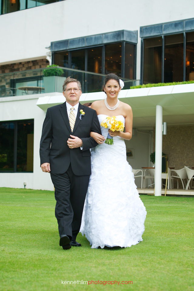 Hong Kong Country Club wedding bride march in with father