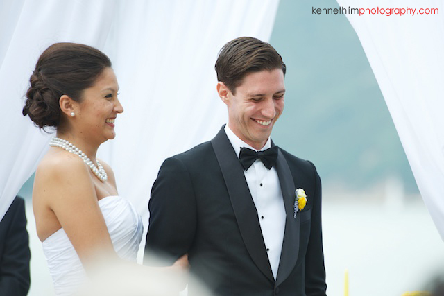 Hong Kong Country Club wedding ceremony bride groom smiling