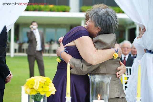 Hong Kong Country Club wedding ceremony mothers of couple hugging