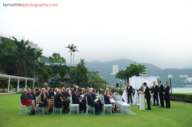 Hong Kong Country Club wedding ceremony on lawn
