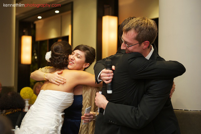 Hong Kong Country Club wedding dinner bride groom hugging best man bridesmaid