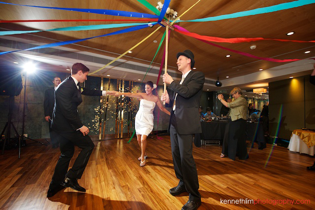 Hong Kong Country Club wedding dinner party bride groom dancing under colorful strings