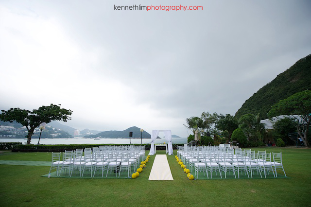 Hong Kong Country Club wedding set up altar