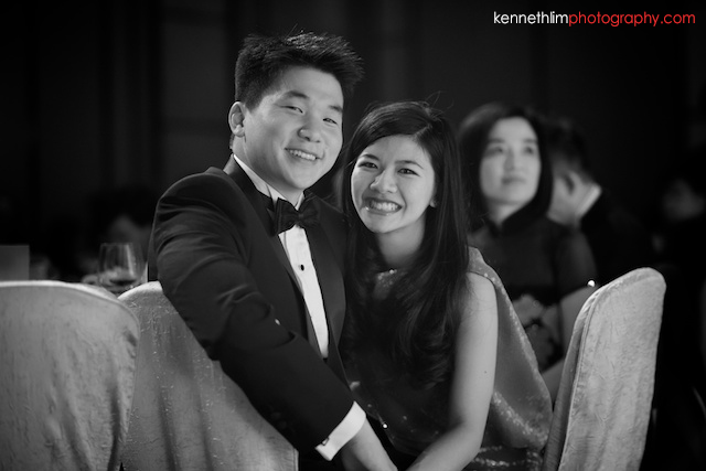Hong Kong wedding Four Seasons banquet bride and groom portrait smiling black and white