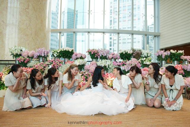 Hong Kong wedding Four Seasons reception portrait session bride with bridesmaids