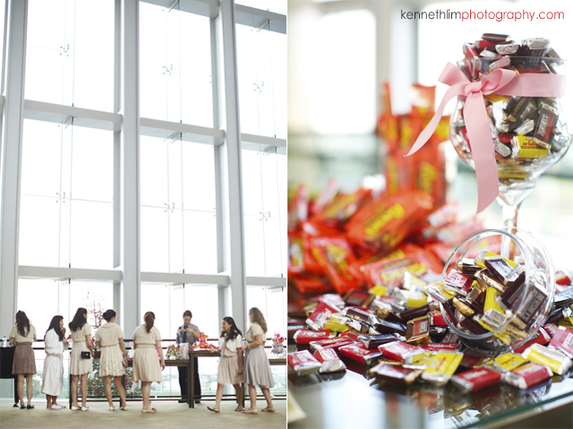 Hong Kong wedding Four Seasons reception preparation of candy and chocolates table