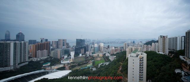 Hong Kong wedding morning preparations view from apartment