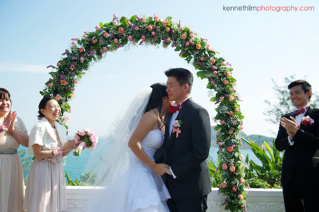 Hong Kong wedding Shek O Golf and Country Club ceremony groom and bride first kiss laughing