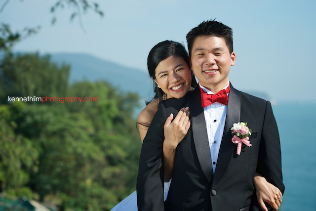 Hong Kong wedding Shek O Golf and Country Club ceremony groom and bride portrait session bride hugging groom from back