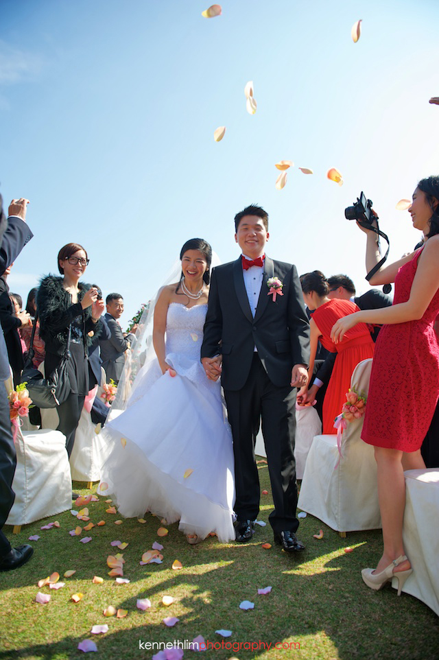 Hong Kong wedding Shek O Golf and Country Club ceremony groom and bride walk off just married