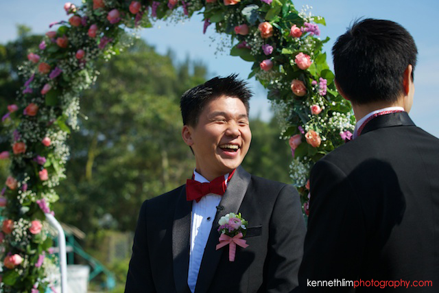 Hong Kong wedding Shek O Golf and Country Club ceremony groom laughing