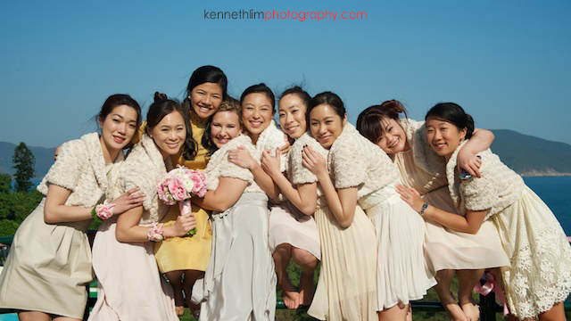 Hong Kong wedding Shek O Golf and Country Club ceremony portrait for brides and bridesmaids laughing together