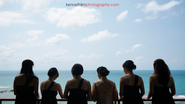 Koh Samui wedding Shasa Resort bride and bridesmaids looking out into the ocean
