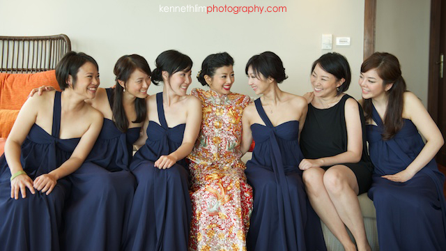 Koh Samui wedding Shasa Resort bride and bridesmaids portrait laughing together