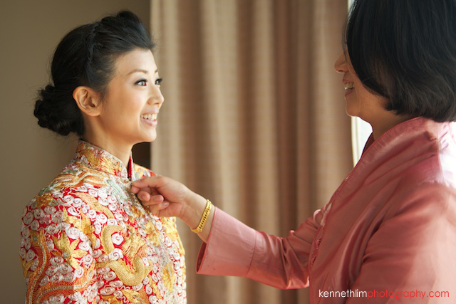 Koh Samui wedding Shasa Resort morning preparations bride smiling in chinese dress to mother