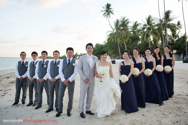 Koh Samui wedding YL Residence bride and groom and bridesmaids groomsmen portrait on beach