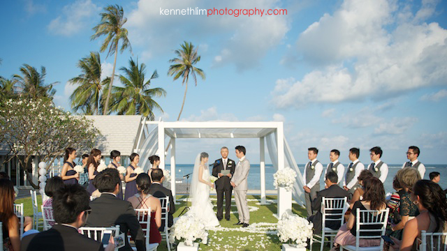 Koh Samui wedding YL Residence bride and groom at the altar