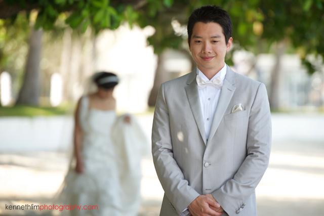 Koh Samui wedding YLResidencebride and groom first look bride walking up to groom