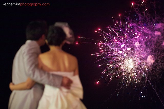 Koh Samui wedding YL Residence bride and groom outdoor watching fireworks