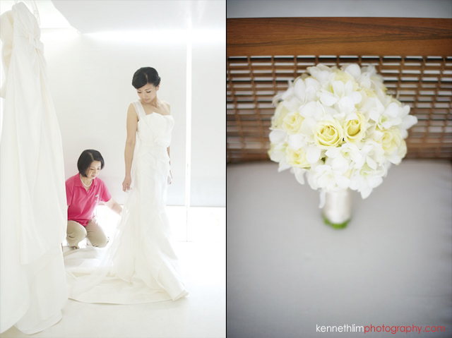 Koh Samui wedding YL Residence bride getting ready looking back with wedding dress and closeup of flowers
