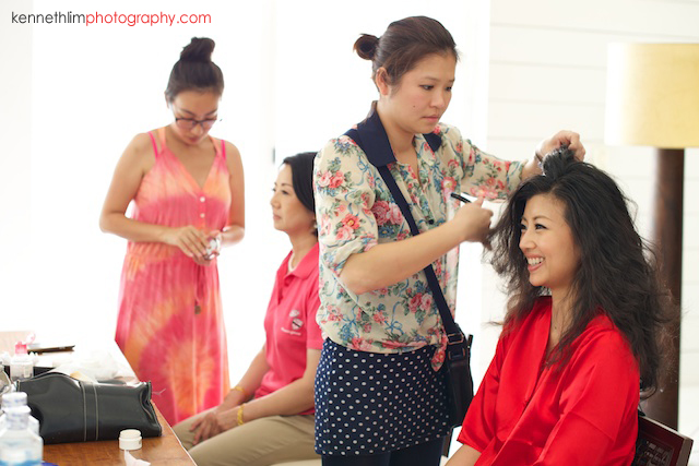 Koh Samui wedding YL Residence bride getting ready with hair