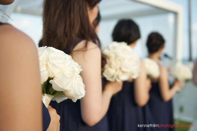 Koh Samui wedding YL Residence bridesmaids and bouquet of flowers