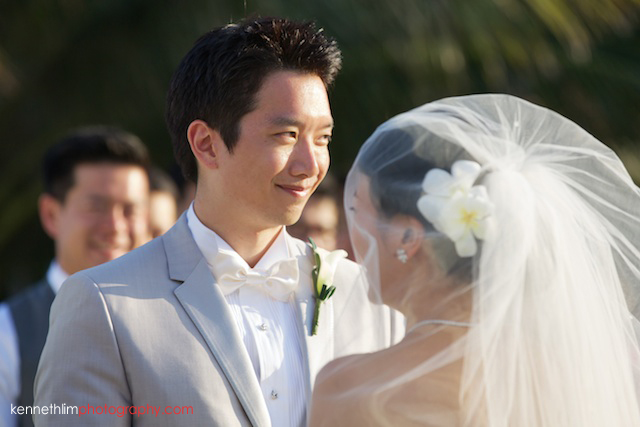 Koh Samui wedding YL Residence groom smiling during ceremony