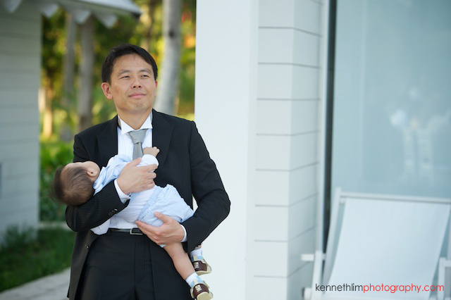 Koh Samui wedding YL Residence guest with sleeping baby