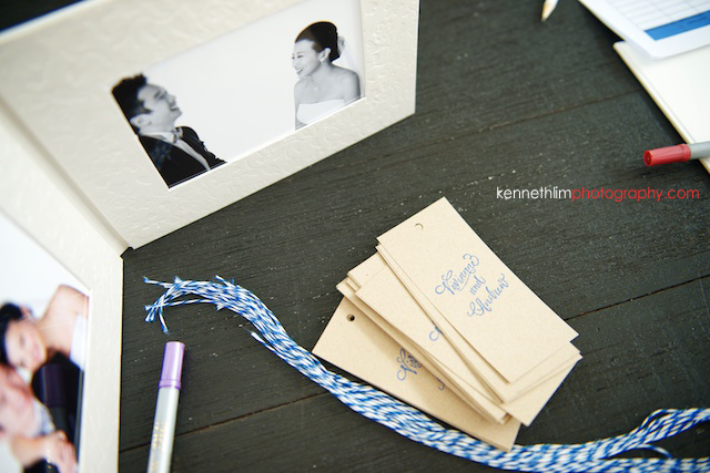 Koh Samui wedding YL Residence outdoor decorations of album and guestbook tags