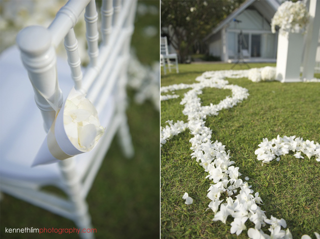 Koh Samui wedding YL Residence outdoor decorations of white flower and petals on lawn