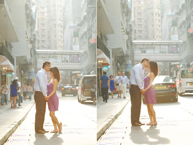 Hong-Kong-Hollywood-Road-engagement-photoshoot-couple-kissing-streetview
