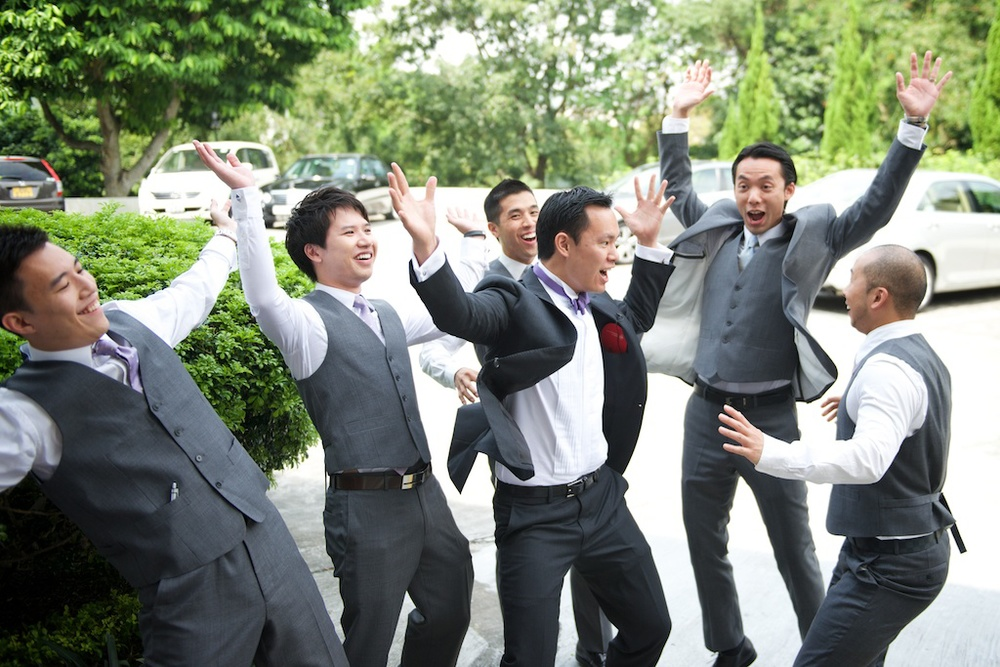 Hong Kong Beas River Country Club wedding photography morning groom and groomsmen playing games dancing