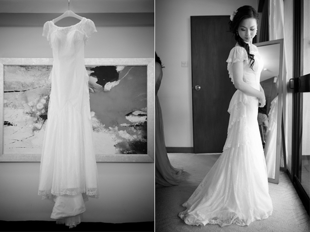 Hong Kong Beas River Country Club wedding photography bride wearing wedding dress first time