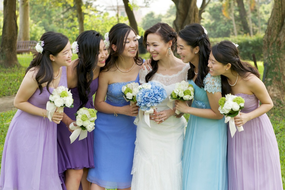 Hong Kong Beas River Country Club wedding photography bride and bridesmaids portrait session together laughing