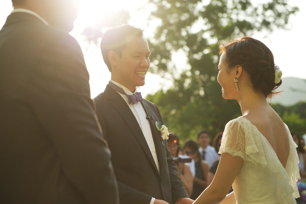 Hong Kong Beas River Country Club wedding photography groom and bride vow exchange