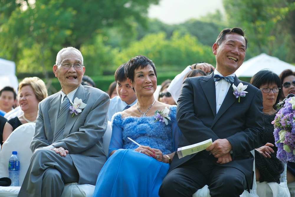 Hong Kong Beas River Country Club wedding photography groom parents smiling during ceremony