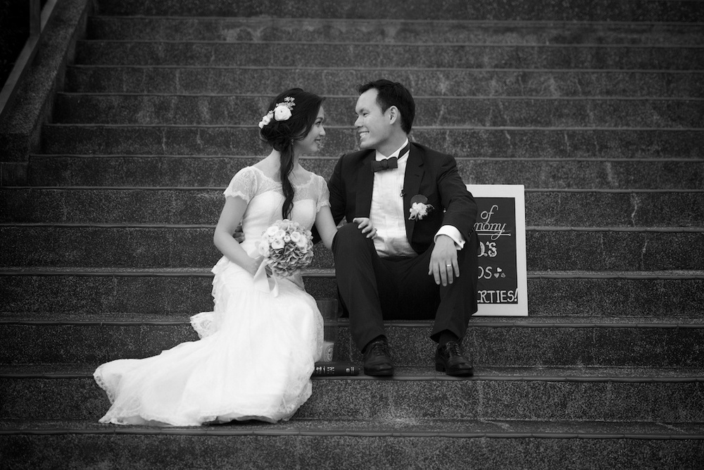 Hong Kong Beas River Country Club wedding photography bride groom portrait session sitting on steps