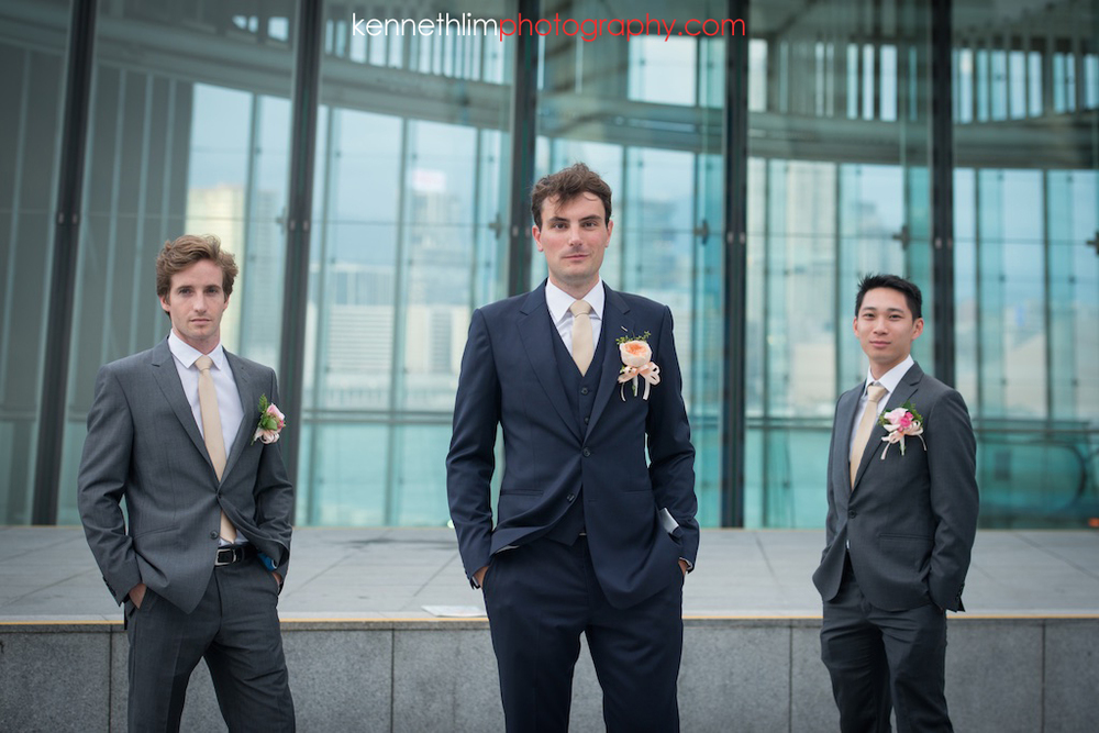 Hong Kong wedding photography IFC Cuisine Cuisine Central wedding portraits groom and groomsmen together