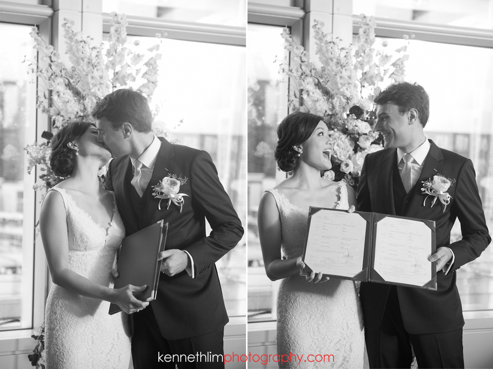 Hong Kong wedding photography IFC Cuisine Cuisine Central wedding ceremony bride and groom first kiss after ring exchange laughing with excitement