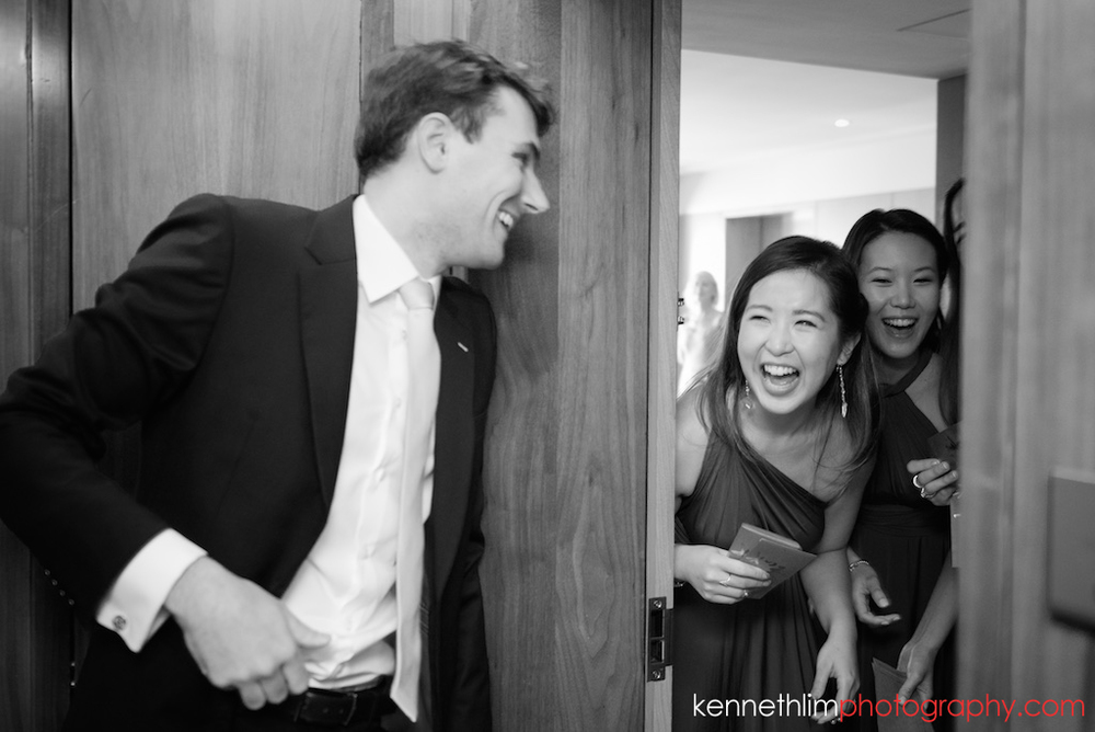Hong Kong wedding photography big day door games groom and bridesmaids laughing together